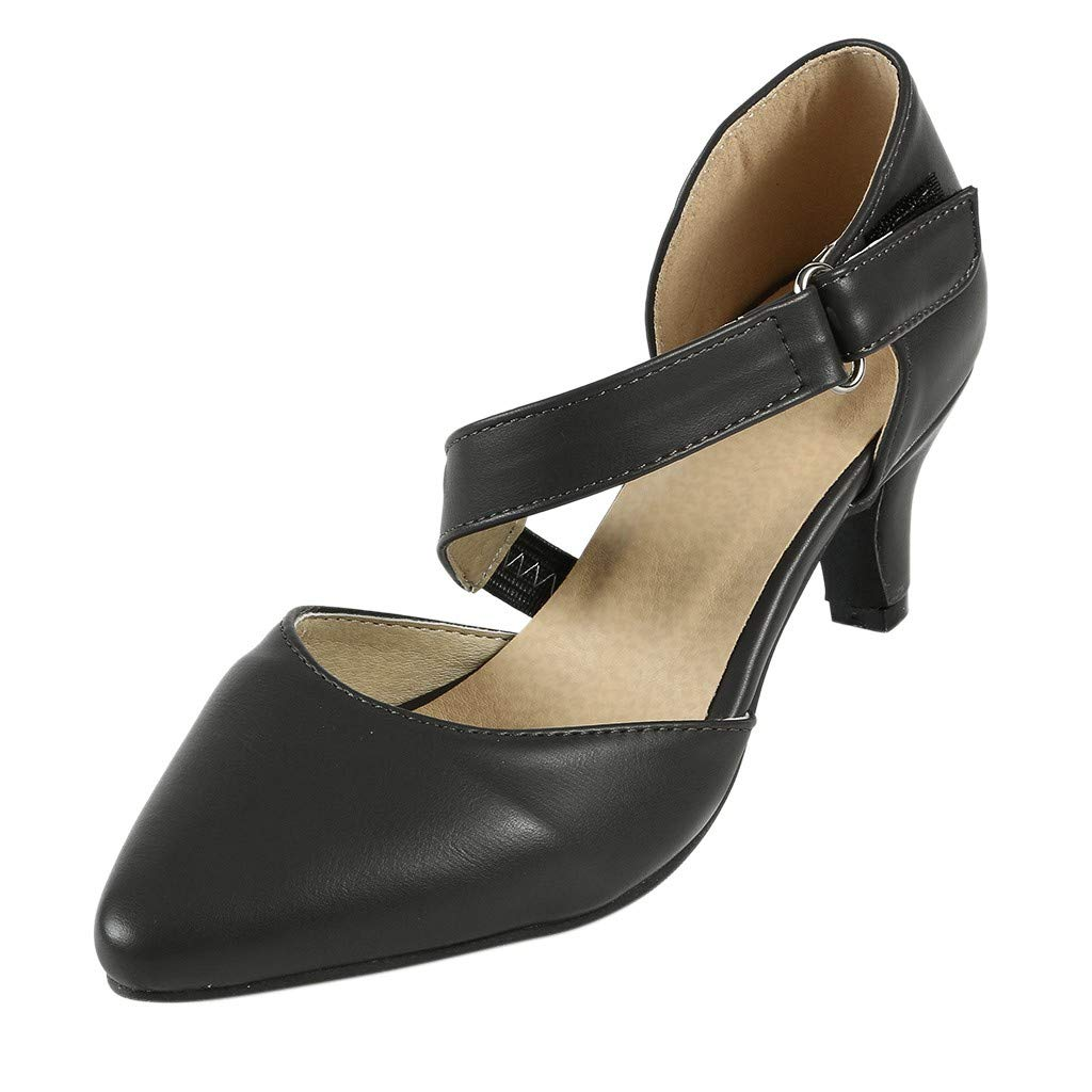 Women's Shoes for Women SYHKS Summer Fashion Pointed Toe Pumps High Heel Shoes Ankle Strap Sandles for Women(Black,41)