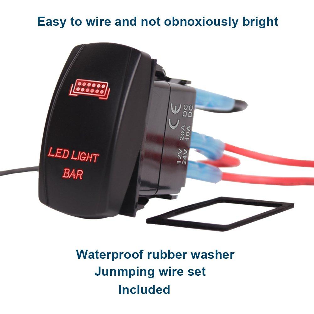 Xislet Led Light Bar Rocker Switches For Utv Polaris Ranger Rzr 800 Wiring A Switch 1000 Xp Turbo Can Am Commander Maverick X3 Rear Lights