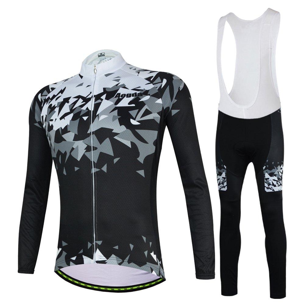 メンズサイクリングジャージ長袖シャツ冬熱ジャケットバイク自転車衣類 B075H7QNJ9  ビブスーツ Medium