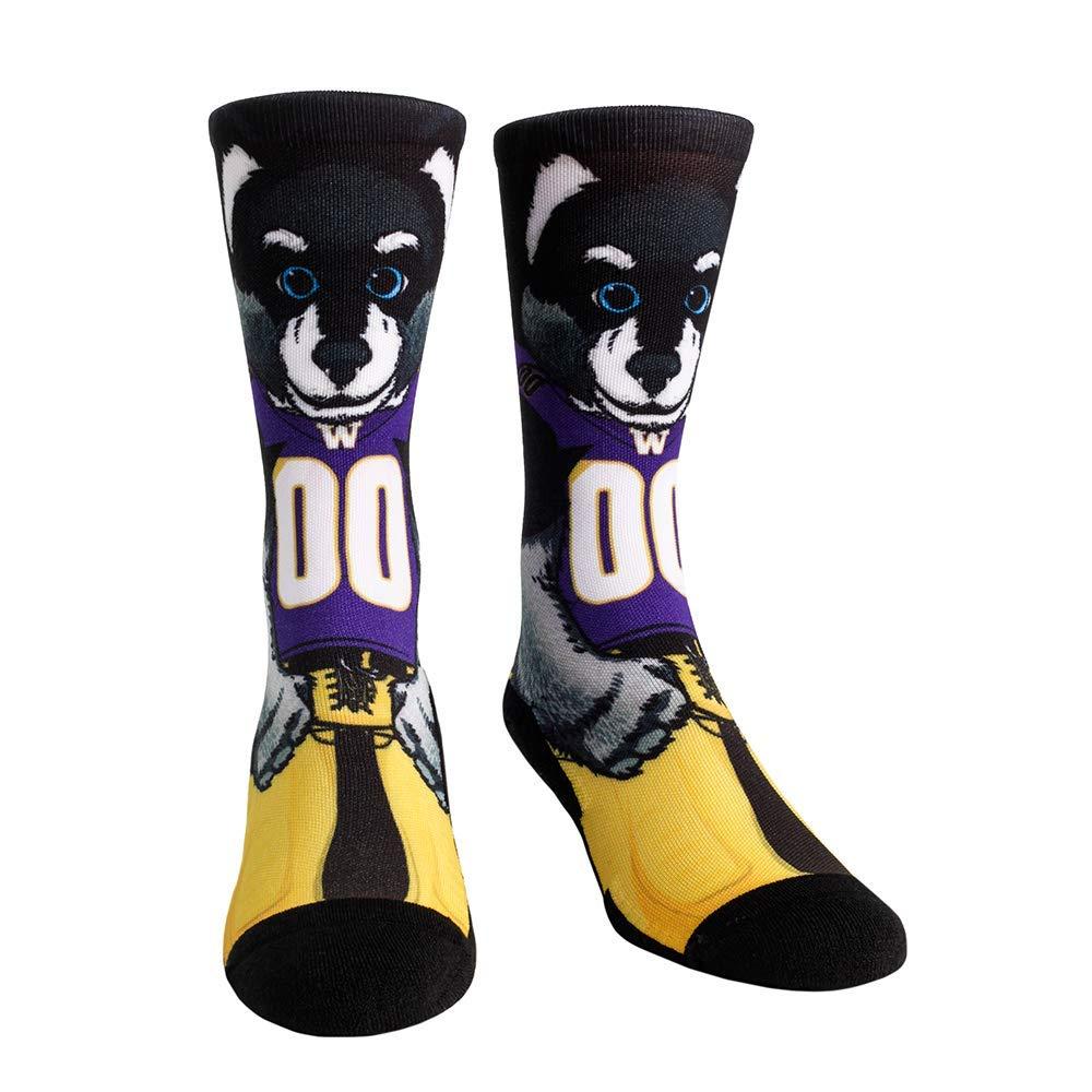 NCAA Super Premium College Fan Socks L//XL, Washington Huskies - Mascot Harry