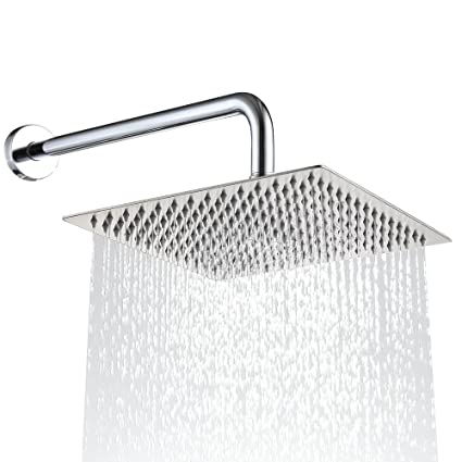 Derpras 12 Inch Square Rain Shower Head 304 Stainless Steel Ultra