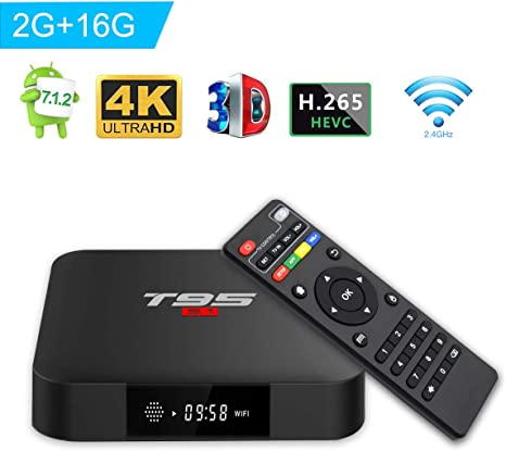 T95 S1 TV Box androide 7.1 TV Box with con Mando a Distancia Amlogic s905 W 2 GB RAM 16 GB ROM H.265 WiFi 4 K HDMI Media Player: Amazon.es: Electrónica