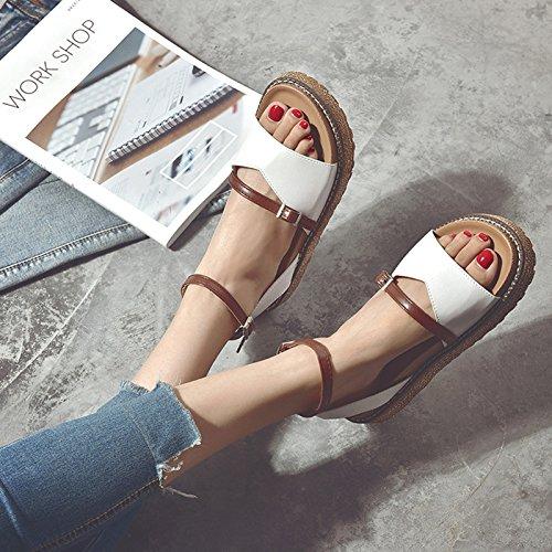Y Y Verano De Ranurada Brown Para GAOLIM Mei De Zapato Versátil Femeninas Bizcochos Seguridad Sandalias Gruesas Estudiantes Zapatos Minimalista w0Z1EAq