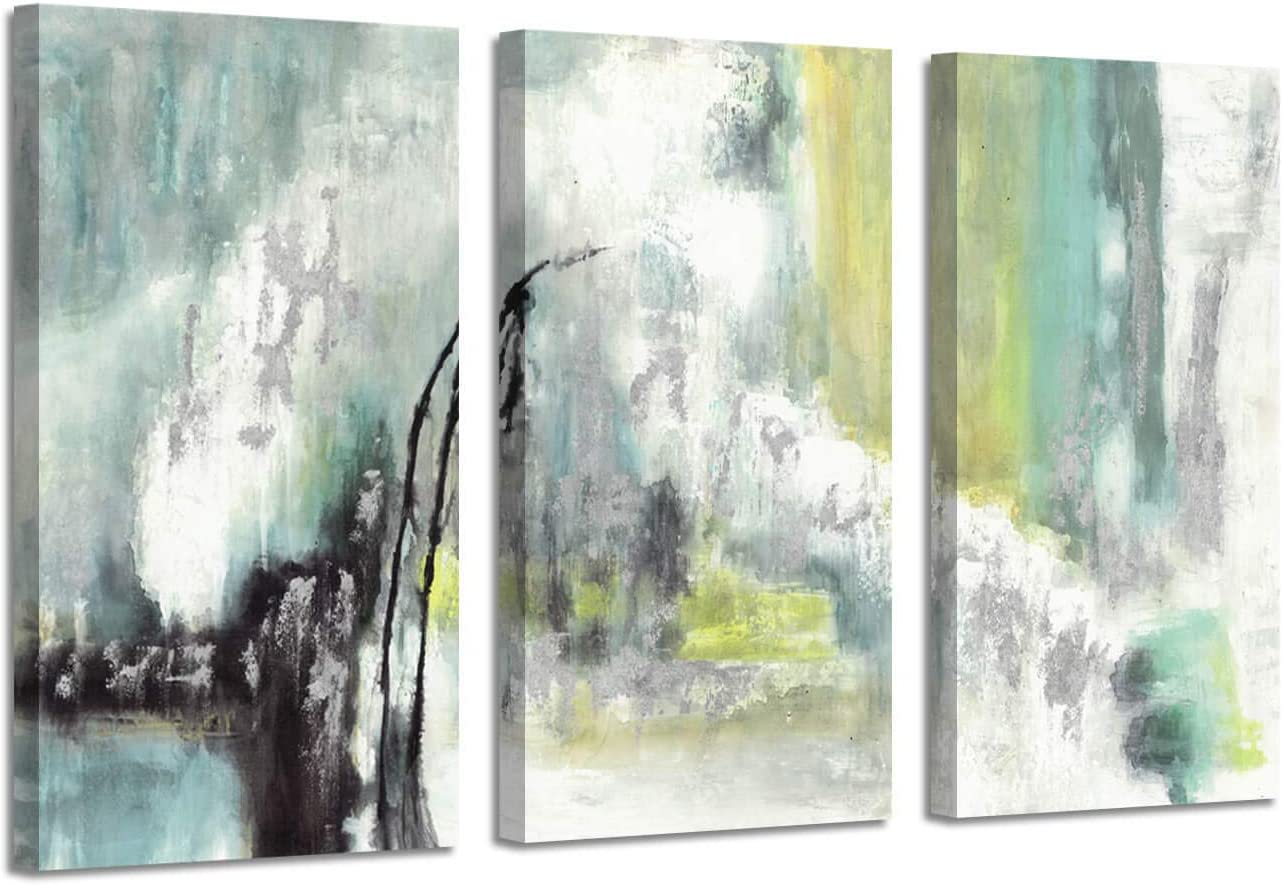 Abstract Geode Art Wall Decor: Harmony Artwork Silver Foil Picture on Canvas (26'' x 16'' x 3 Panels)
