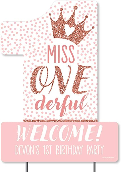 Little Miss Onederful First Birthday sign,Tutus and Tiaras Pink and Gold Glitter,Printed Birthday poster