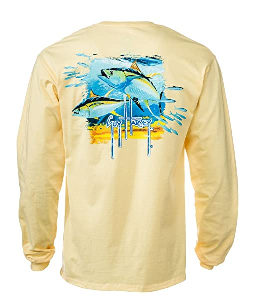 b133fee3 Guy Harvey Tuna Splash Back-Print Men's Long Sleeve Tee with Pocket at  Amazon Men's Clothing store: