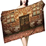 UHOO2018 Bath Towel Old Brick with Antique Dirty and Windows Bathroom Towels W 27.5'' x L 55''