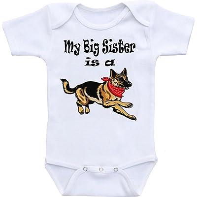 Wonder Labs My Big Sister Is A German Shepherd Dog Funny Baby Onesie Bodysuit