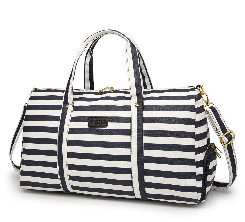 Elenture Weekender Tote Bag Leather Travel Duffel Bag Overnight Carry Bag (Navy Blue/White Stripe)