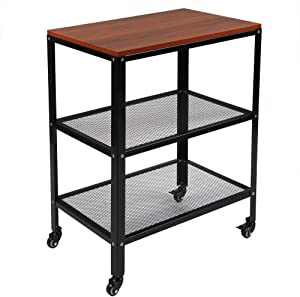 TUFFIOM 3-Tier Rolling Microwave Cart, Industrial Wooden Kitchen Utility Cart W/Storage Shelf, Casters & Metal Frame for Kitchen, Accent Furniture for Living Room (Brown)