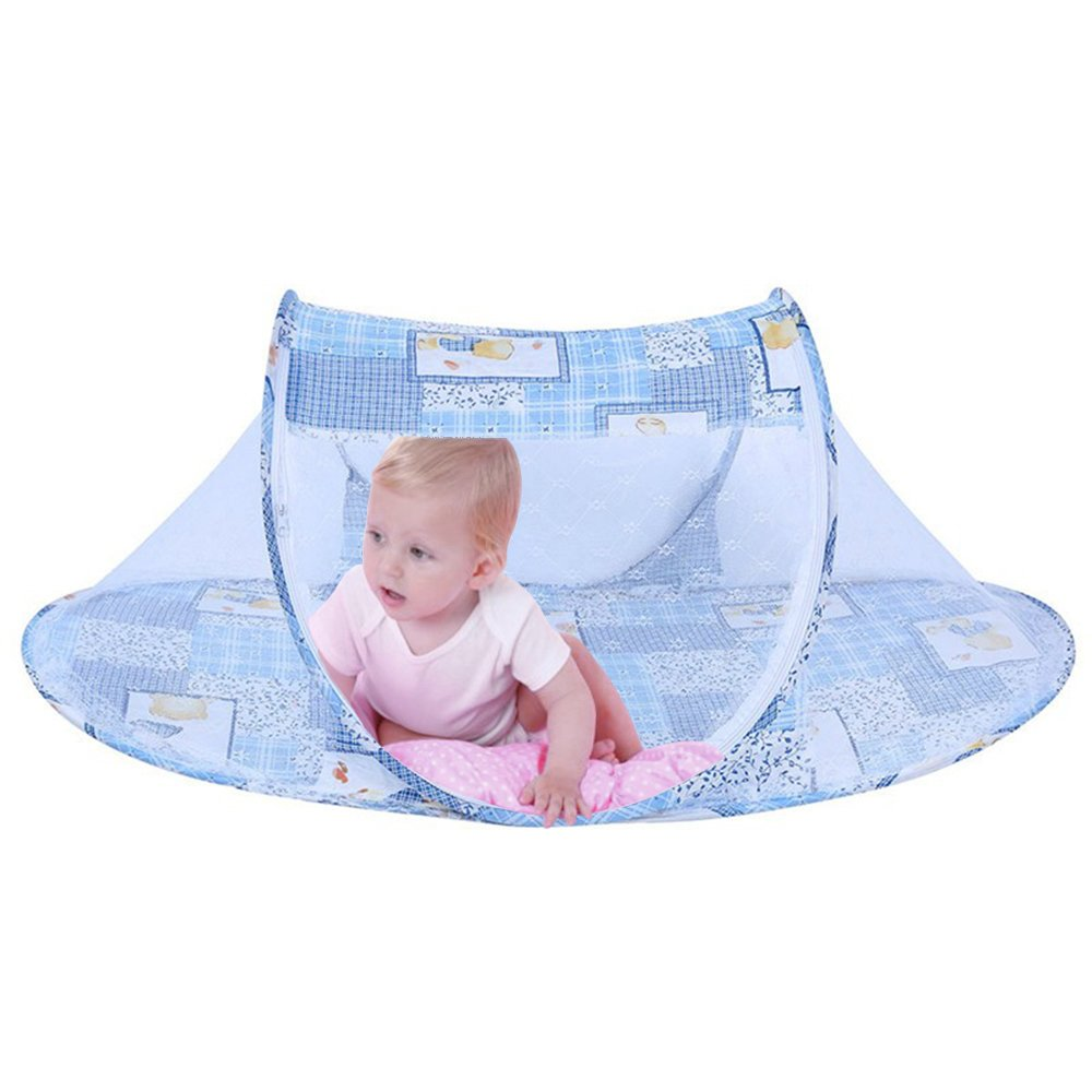 Sealive Foldable Baby Crib Cot Bed Mosquito Net Pop-Up Insects Beach Tent,Free Installation,Breathable Lightweight Portable Travel&Outdoor Tent for Newborn Infant Baby,Protect from Mosquito&Bugs(Blue)