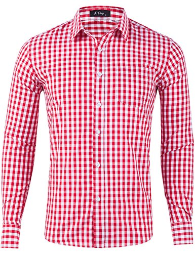 (XI PENG Men's Slim Fit Plaid Checkered Gingham Long Sleeve Dress Shirts (Red Tartan, Small))