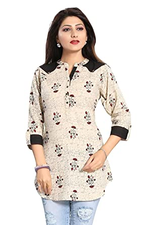 4cc9128b848 Smart Choice Designer   Stylish Printed Floral Rayon Short Kurta for Girls    Women (Color