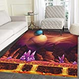 Fantasy Area Silky Smooth Rugs Fantasy Spot with Golden River in Mars with Nebula and Other Planets Solar Zodiac Theme Floor Mat Pattern 4'x6' Multi