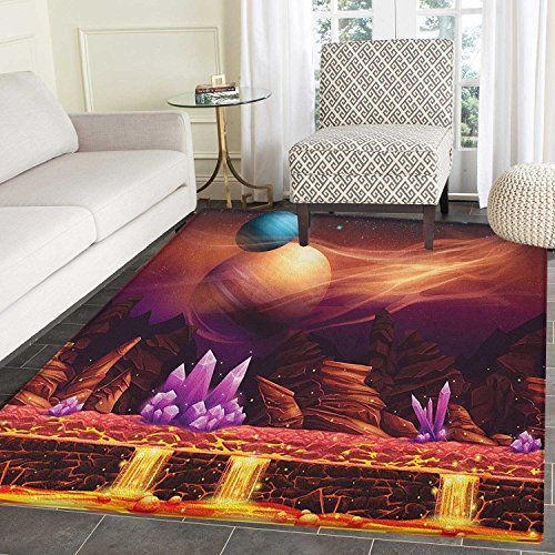 Fantasy Area Silky Smooth Rugs Fantasy Spot with Golden River in Mars with Nebula and Other Planets Solar Zodiac Theme Floor Mat Pattern 4'x6' Multi by smallbeefly