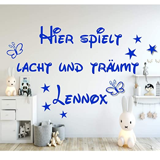 Dekoration Wandtattoo Kinderzimmer Hier Spielt Lacht Und Traumt Personalisiert Namen Mobel Wohnen Elin Pens Ac Id