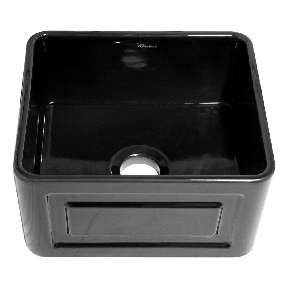 Whitehaus Collection WHFLRPL2018-BLACK Home Indoor Farmhouse Kitchen Bathroom Reversible Series Fireclay Sink with Raised Panel, Front Apron on One Side and Fluted Front Apron on Other, Black