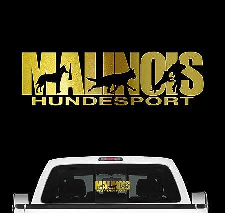 Siviwonder Malinois Hundesport Auto Aufkleber Hund Folie Belgian Mali Schäferhund Farbe Gold Metallic Größe 30cm Auto