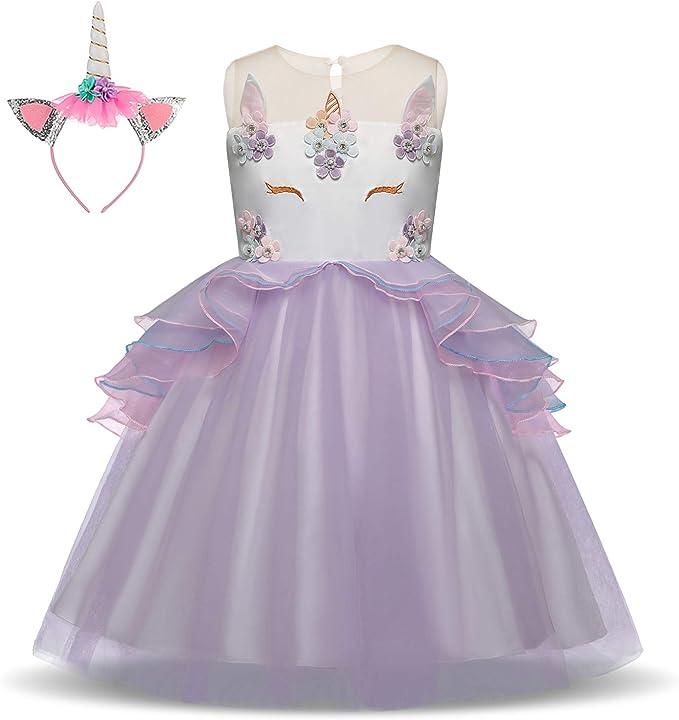 Pretty Princess Vestido para niña Unicornio Disfraz Cosplay 2PCS Princesa Fiesta de Halloween Navidad Cumpleaños 7-8 años: Amazon.es: Ropa y accesorios