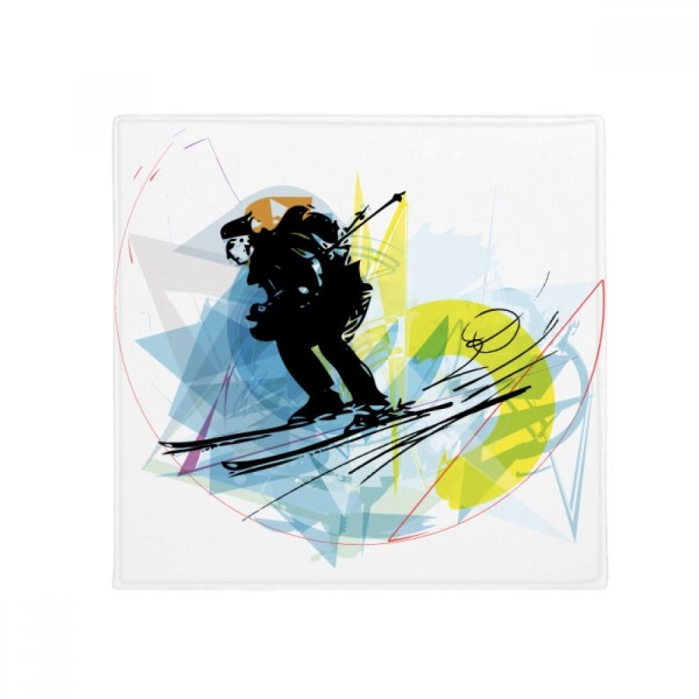 DIYthinker Sport Athletes Skiing Sports Watercolor Sketch Anti-Slip Floor Pet Mat Square Home Kitchen Door 80Cm Gift