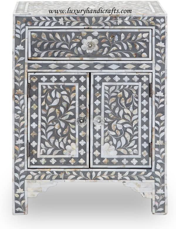 Luxury Handicrafts Mother of Pearl Two Door One Drawer Bedside Table Grey