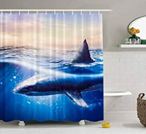 Tooperue Baby Shower Curtain, Shower Curtain for Bathroom with Hooks Cage Diving with Great White Sharks in Mexico Guadalupe 78×72 Inch,Eco-Friendly,No Oder,Waterproof