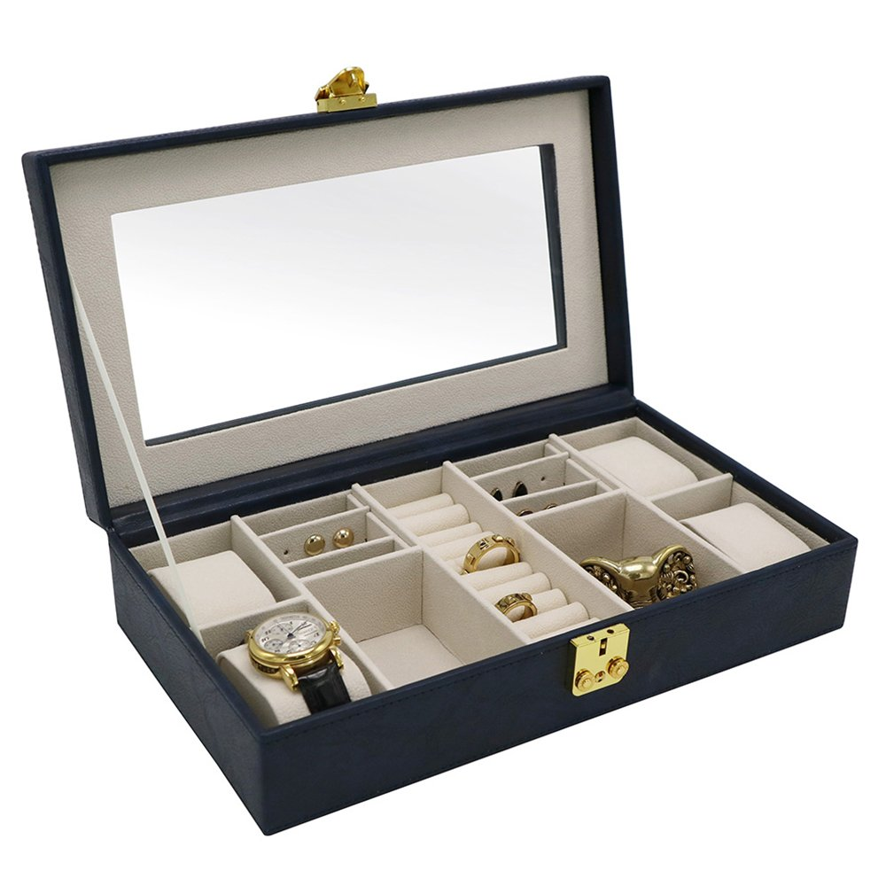 A Comely Jewelry Box 4 Slot Watch Storage Display Organizer Case for Man and Women with Glass Top 2 Tone Faux Leather(Navy)