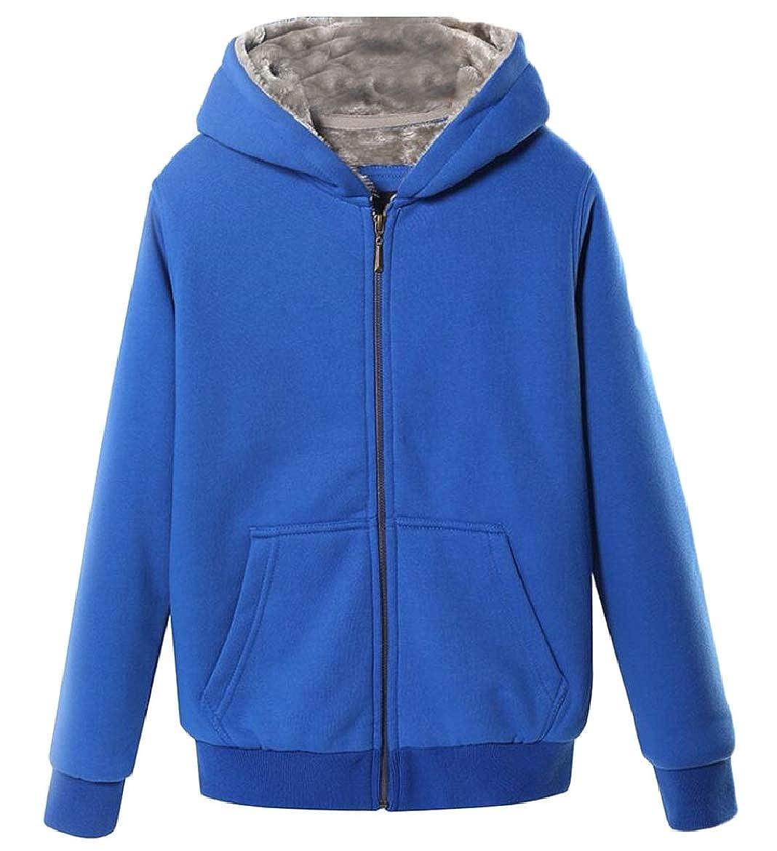 xiaohuoban Men Warm Coats Winter Zipper Fleece Hoodies Jacket with Pocket