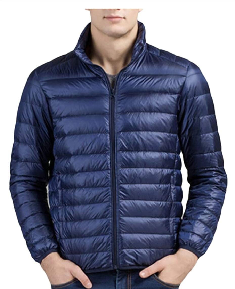 GAGA Mens Packable Zipper Down Jacket Winter Coat