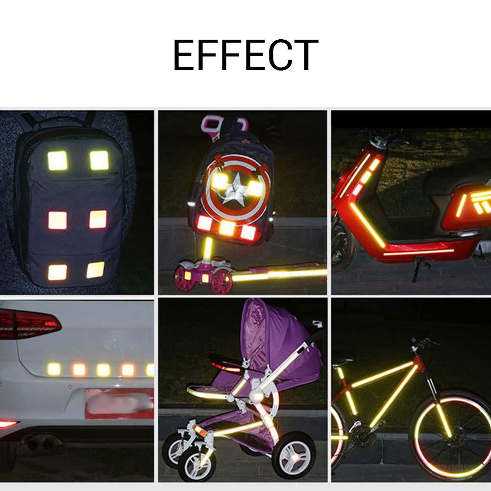 maiqiken 10pcs Nastro Adesivo Riflettente Giallo Universale Auto Moto Bicicletta Stickers 60mm Diametro