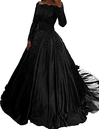 20b4f1db18c Jazylynbride Long Sleeves Satin Formal Evening Dress Off The Shoulder Lace  Applique Prom Gown Black