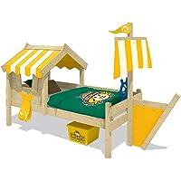 WICKEY Cama infantil con techo CrAzY Finny Cama para jugar con construcción del barco y vela Cama aventuras con somier…