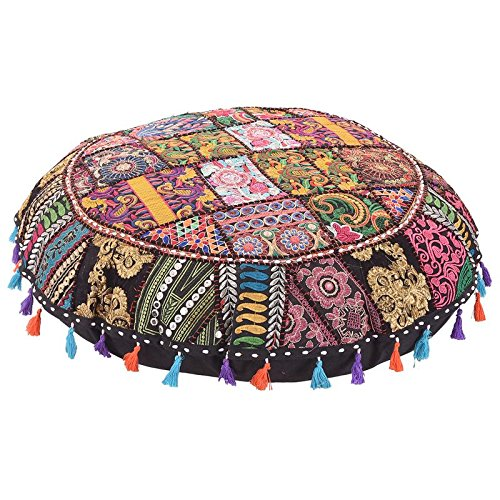Home Decorative Pouf Cover,Handmade Foot Stool Floor Cushion Cover Living Room Pouffe Cover Embroidered Cotton Pillow Cover,Vintage Chair Cover Ethnic Decor (India Sari Floor Pillow Cushion)
