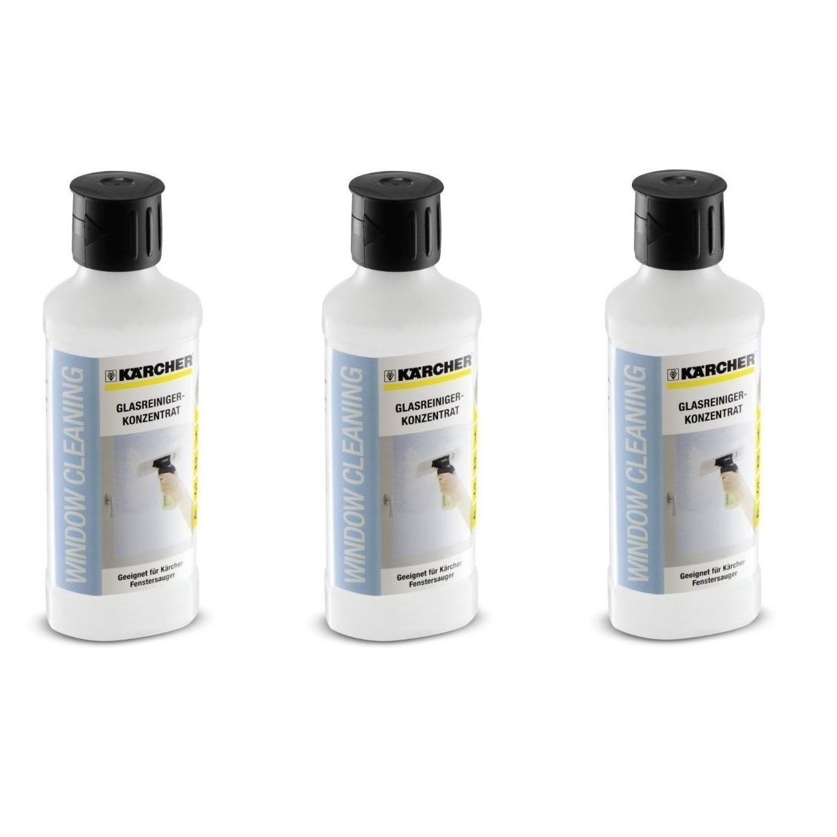 3 x Kärcher 500ml Glass Cleaning Concentrate For Window Vac