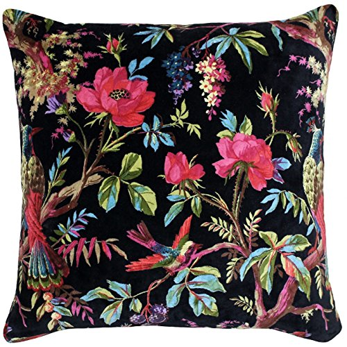 TROPICAL FLORAL BIRDS BLACK PINK LARGE COTTON VELVET SQUARE FILLED CUSHION 50CM - 20