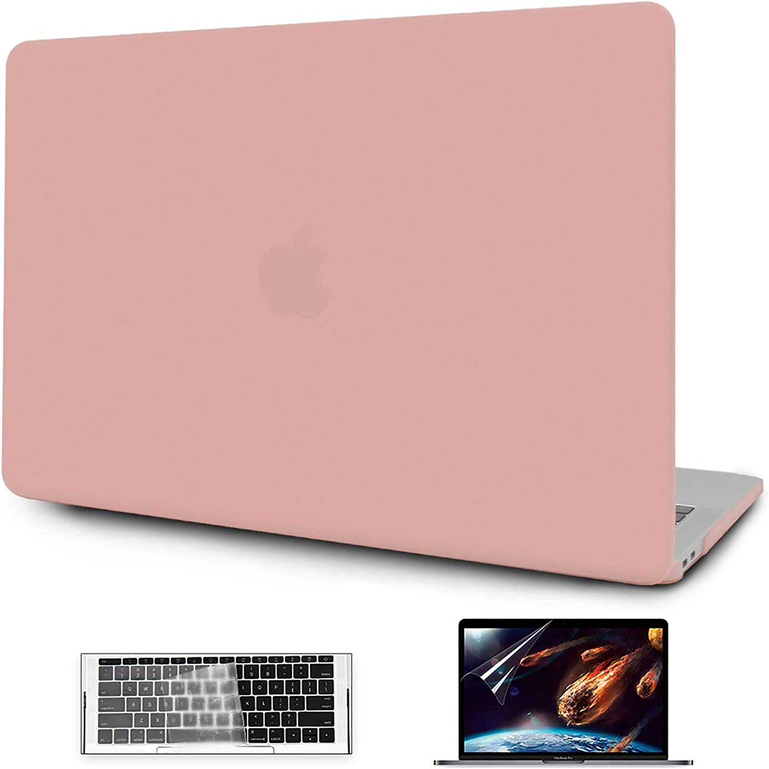 OneGET MacBook Pro 13 Inch Case Laptop Case 2016 2019 A1989 A1706 A1708 A2159 Minimalist Thin Matte PP Hard Shell with Keyboard Cover Screen Protector 3 in 1 Bundle (Pink)