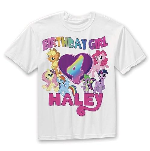 42a8cc685 Amazon.com: My Little Pony Birthday Shirt, Rainbow Birthday Girl shirt:  Handmade