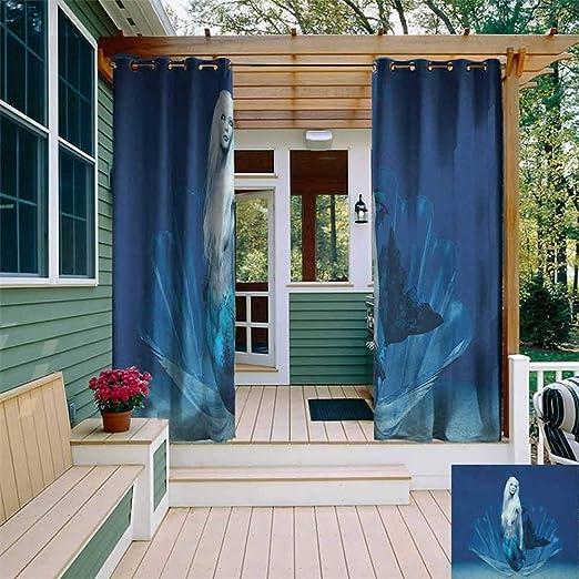 XXANS Cortina de pérgola, Sirena con diseño de Caballito de mar bajo el Agua, fantasía, mágico Cuento de Hadas, Cortinas con Ojales para recámara, ámbar Verde Agua: Amazon.es: Jardín