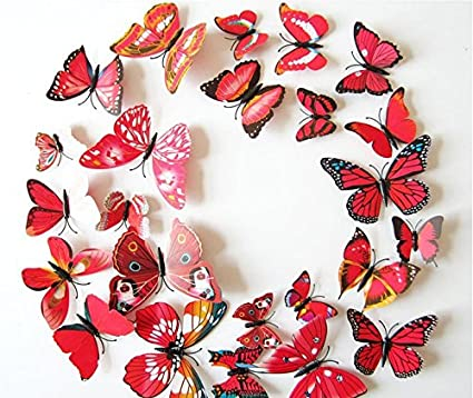 Amaonm® 24pcs 3d Vivid Special Man-made Lively Butterfly Art DIY Decor Wall Stickers Decals Nursery Decoration, Bathroom Décor, Office Décor, 3d Wall Art, 3d Crafts for Wall Art Kids Room Bedroom Bathroom Décor Office Décor White2-2