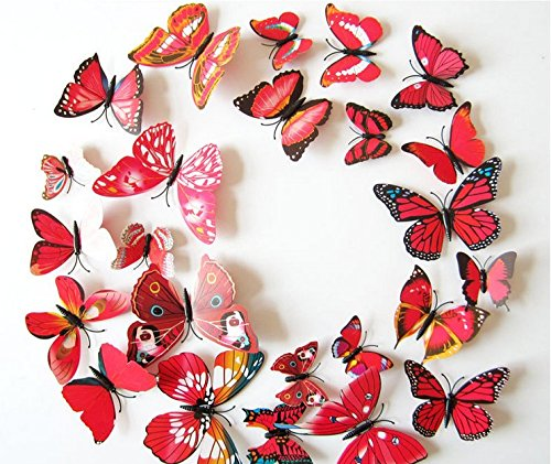 Amaonm 24pcs 3D Vivid Special Man-Made Lively Butterfly Art DIY Decor Wall Stickers Decals Nursery Decoration, Bathroom D