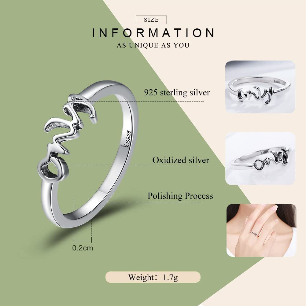 Everbling Only You Letter Engrave 925 Sterling Silver Ring