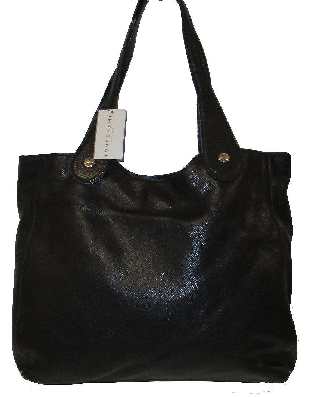 Longchamp Quadri 1085786001 Black Leather Shoulder Bag Made In Quadry France Shoes Handbags