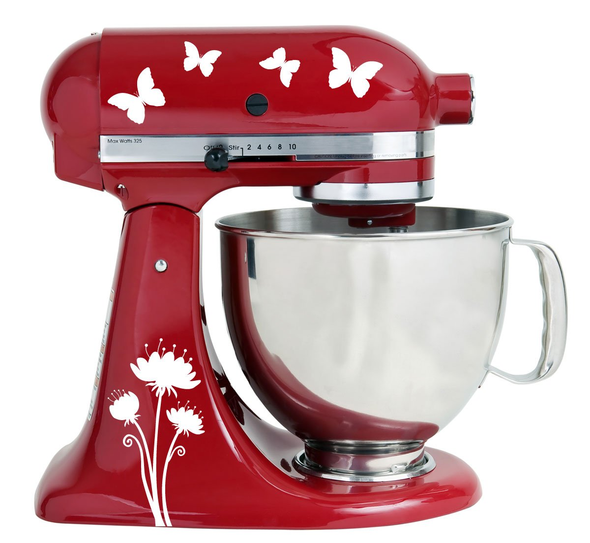 Flying Butterflies White Vinyl Decals for Kitchen Mixers Milk Mug Designs mmd/_mixer/_butterfly
