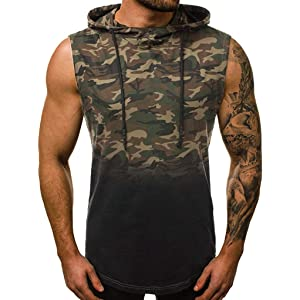 Summer Mens Camo Sleeveless Hooded Vest Casual Fitness Vest Zipper Jackets Tops