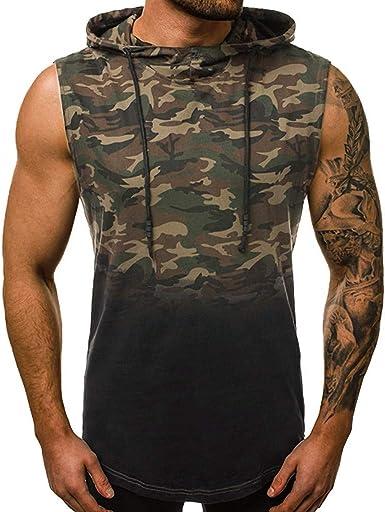 beautyjourney Chaleco de Camuflaje para Hombre Camisetas sin Mangas con Cuello Redondo Camisetas de Tirantes Camiseta Larga en Forma Transpirable Camisa musculosa: Amazon.es: Ropa y accesorios