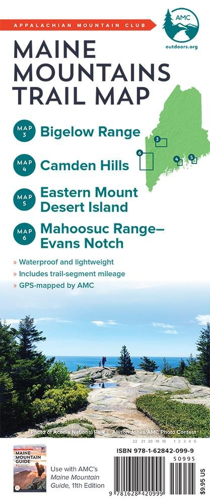Amc Maine Mountains Trail Maps 3 6 Bigelow Range Camden Hills - Us-map-with-appalachian-mountains