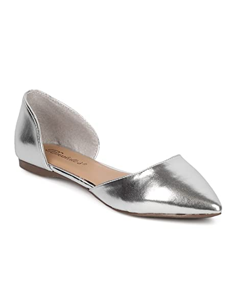 Breckelles Dolley 52 womens dorsay Flat Almond pointed Toe Slip On Suede  4X4K99AQJ