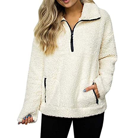 Amazon.com: Womens Coats Winter Besde Womens Fashion Casual Warm Lightweight Outwear Sweatshirt Solid Wool Zipper Pockets Cotton Loose Coat Outwear: Pet ...