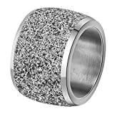 INRENG Women's Stainless Steel Ring Shiny Sequins Pave Sandblast Wide Wedding Band Silver Size 7