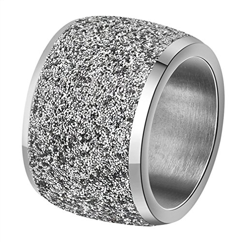 INRENG Women's Stainless Steel Ring Shiny Sequins Pave Sandblast Wide Wedding Band Silver Size 11 ()